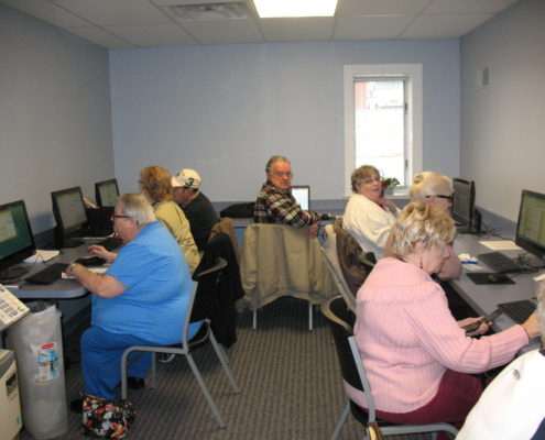 Seniors Learning Computer Skills